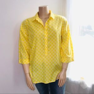 LANDS' END Yellow Buttons Pullover size 24W top